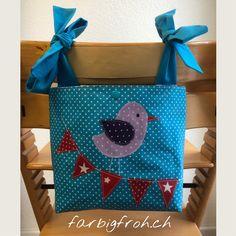www.farbigfroh.ch #tripptrapptasche #triptraptasche #tripptrapputensilo #hochstuhltasche Straw Bag, Bags, Baby Sewing, Projects, Handbags, Bag, Totes, Hand Bags