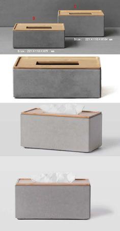 Handmade Concrete Tissue Box Office Desk Stationery Organizer Storage Box - betoN - diy and crafts Concrete Furniture, Concrete Pots, Concrete Crafts, Concrete Projects, Diy Stationery Organizer, Desk Stationery, Beton Design, Concrete Design, Box Office