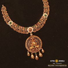 Feel the historic moment with this short necklace beautified by the sculpting of Lakshmi studded with Cubic Zircone ,Ruby stones. Choker Necklace Online, Gold Choker Necklace, Antique Necklace, Short Necklace, Antique Jewelry, Collar Necklace, Indian Jewellery Online, Indian Jewelry, Gold Jewellery Design