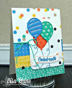 Get Crafty with Lisa: Birthday Balloon Adventures.  This card features Stampin' Up!'s Balloon Adventures Stamp Set, Birthday Bright Stamp Set, and Balloon Pop-Up Thinlits Dies, by www.getcraftywithlisa.com