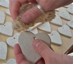 I have recently made 50 porcelain hearts that have been impressed with vintage lace for a lady who commissioned me to make them for wedding . Handmade Wedding Favours, Rustic Wedding Favors, Ceramic Techniques, Clay Ornaments, Pottery Making, Vintage Lace, Porcelain, Carving, Ceramics