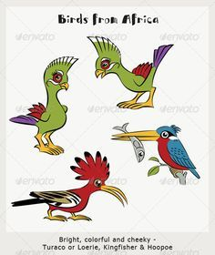 2 Tropical Birds Cartoon; Parrots-Loeries #GraphicRiver Four colorful birds in cartoon style, suitable for brightening up any tropical or party scene. Two parrots type birds are loeries or turacos, a kingfisher and a hoopoe. Created: 17May12 GraphicsFilesIncluded: VectorEPS Layered: Yes MinimumAdobeCSVersion: CS Tags: Kingfisher #Knysnaturaco #african #aviary #bird #bright #cartoon #cheeky #colorful #fun #green #hoopoe #knysnaloerie #parrot #party #pets #red #summer #tropicalbird #turaco…