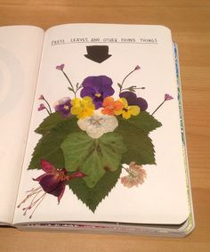 I had great fun doing this page. I went out into the garden and collected all the different flowers I could find, I pressed them between the pages of a book and then left them under a big pile of books for two weeks. When I went back to it they were ready to be arranged into my journal...