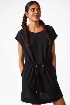 Monki Image 2 of Drawstring shirt dress in Black