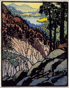 Autumn Brocade 1920  ||  Frances Gearhart Color Wood Block Print