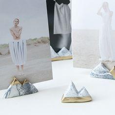 Lile Sadi Marble and Gold Mountain Photo Holders, set of three