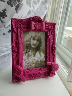 pink hairstylist picture frame by CheeseCrafty on Etsy, $21.00