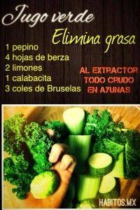 Jugo verde ELIMINA - GRASAS: pepino, berza, limones, calabacita y coles de Bruselas