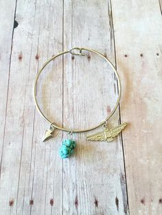Turquoise Bangle - Turquoise Charm Bracelet - Tribal Bangle Bracelet - Arrowhead Charm - Eagle Totem Charm - Silver Bracelet - Gifts for Her