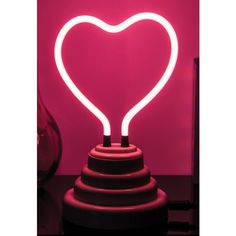 Merkury Innovations Mini Neon Heart Light ($17) ❤ liked on Polyvore featuring home, lighting, pink, neon tube lights, pink glass lamp, battery operated lamps, battery operated mini lights and pink lamp