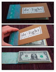How punny are these 5 crafty ways to give cash gifts graduation diy money book it has 50 one dollar bills in it that are hot glued on one end and can be torn out just like a notepad it was pretty simple and fun to make solutioingenieria Image collections