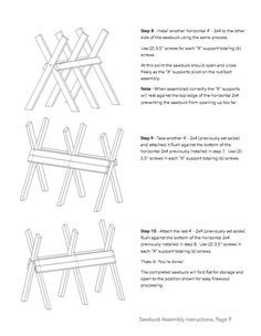 Use these free sawbuck plans to build your own folding sawbuck. A step by  step