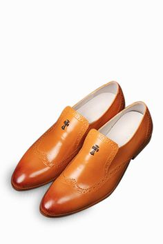Brogue Men's Dress Loafers Shoes In Orange