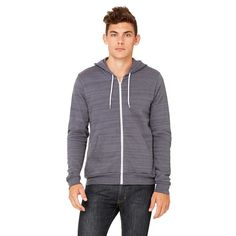 cef7695d177 Bella + Canvas Unisex Dark Grey Marble Full-Zip Hoodie