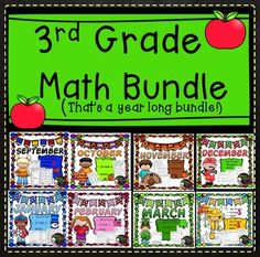 3rd Grade Math Bundle- Year long math!8 Months of No Prep, Grade 3 Math for September to April! That's a year of math! Save 20% by buying the Bundle!!Each month has 30 pages plus bonus activity! All have been revised with Table of Contents and answer keys!Your students will adore these fun filled activities for math!