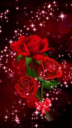 Wallpaper Images Hd, Bling Wallpaper, Rose Flower Wallpaper, Flowers Gif, Red Rose Flower, Red Roses, Colorful Wallpaper, Beautiful Wallpaper, Animated Love Images