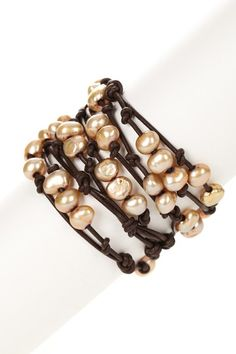 golden freshwater pearls and leather