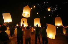 These lanterns are lit and sent off floating like hot air balloons.