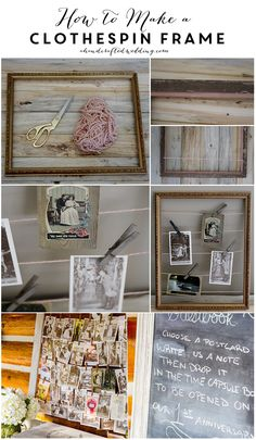 How to make a Yarn Clothespin Frame to display photos or postcards. Perfect decor idea for a #vintage inspired #wedding. ahandcraftedwedding.com