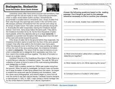 Stalagmite Stalace Nonfiction Text Reading Comprehension Worksheets