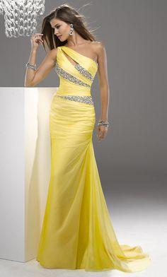 Buy Trumpet/Mermaid One-shoulder Sweep/Brush Chiffon Evening Dress At Weddingwhoo.com