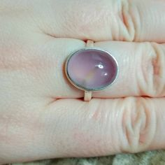 Sterling Silver Purple Chalcedony Ring with Simple Hammered Ring Band Lace Jewelry, Jewelry Accessories, Chalcedony Stone, Morganite Ring, Gemstone, Business Products, Engagement Rings, Band, Sterling Silver