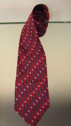ERMENEGILDO ZEGNA Mens 100% Silk Necktie ITALY Luxury Geometric Red Navy Lt Blue #ErmenegildoZegna #NeckTie