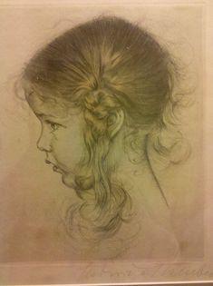 Antique Young Girl Child Head Ink Portrait Art Print Etching On Paper Portrait Au Crayon, Pencil Portrait, Portrait Art, Realistic Drawings, Cool Drawings, Pencil Drawings, Figure Drawing, Painting & Drawing, Etching Prints