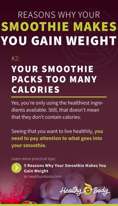 Did you know that your smoothie could make you pile on the pounds? Discover 5 reasons why your smoothie makes you gain weight instead of losing weight . Smoothie Packs, Smoothie Recipes, Healthy Smoothie Ingredients, Trust Yourself, Make It Yourself, Weight Gain, Weight Loss, How Much Sugar, Feeling Hungry