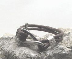 FREE SHIPPING Men's leather bracelet Brown leather men's bracelet with silver plated s omega clasp  33.62