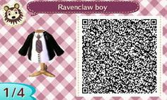 RAVENCLAW BOYS OUTFIT. HARRY POTTER. HP. ANIMAL CROSSING NEW LEAF. QR CODE. ACNL. PINNED BY Stephy Sama