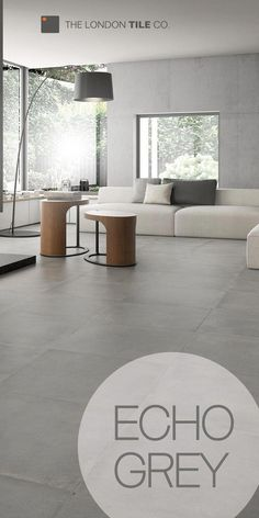 grey flooring Use the Echo range of tiles to create a modern living space Modern Floor Tiles, Grey Floor Tiles, Modern Flooring, Grey Flooring, Concrete Tiles Floor, Open Plan Kitchen Living Room, Living Room Grey, Living Room Modern, Living Room Designs
