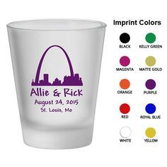Personalized Frosted Shot Glasses (Clipart 1275) St Louis Skyline - Wedding Favors - Custom Glassware - Shot Glasses