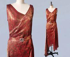 RéservéRARE des années 1920 robe / 20 s rouge par GuermantesVintage