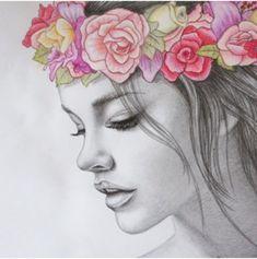Dessin réaliste en noir et blanc représentant une jeune fille au visage mis en valeur par une couronne fleurie colorée. #pencildrawings