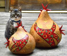 My cat Shelly is thrilled beyond words to present my new gourd kitchen decor rooster!  www.gourdament.etsy.com