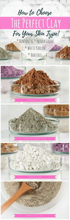 DIY skincare lets you find the perfect products for your needs. Learn about four types of clay and their benefits to make your own clay facial mask. #facemask #diy #skincare #diyfacemasks #bentoniteclay #kaolinclay #frenchgreenclay #rhassoulclay #claymasks #clay #Acne #antiaging