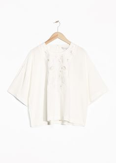 & Other Stories   Cut-Out Embroidery Blouse   White