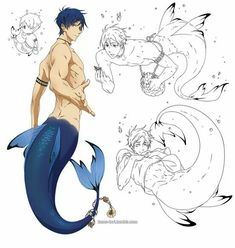 Rei is such a pretty merman. At least in this form he's unable to drown. Mermaid Boy, Male Mermaid, Fantasy Creatures, Mythical Creatures, Character Inspiration, Character Art, Mermaid Drawings, Mermaids And Mermen, Merfolk