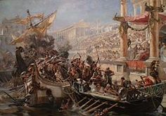 Two ships collide in a flooded arena or stone-lined body of water, and their crew mingle in fight. The shorter boat is powered by oars, the taller by sails. The emperor and crowd look on. La Naumaquia (detail): an imaginative recreation by Ulpiano Checa