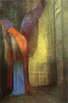 Odilon Redon (French: 1840–1916), [Post-impressionism, Symbolism] Winged Old Man with a Long White Beard, 1900.