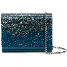 Jimmy Choo Candy glitter shoulder bag ($850) ❤ liked on Polyvore featuring bags, handbags, shoulder bags, blue, leather handbags, leather crossbody handbags, mini crossbody, mini crossbody purse and leather cross body purse