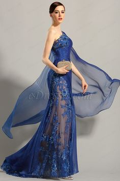 eDressit One Shoulder Embroidered Blue Evening Gown Prom Dress (02153705) $239.99