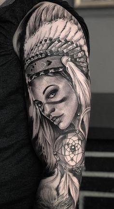 30 Tatuagens na parte superior do braço feminino | TopTatuagens Indian Women Tattoo, Native Indian Tattoos, Indian Girl Tattoos, Indian Skull Tattoos, Native American Tattoos, Lion Tattoo Sleeves, Cool Half Sleeve Tattoos, Half Sleeve Tattoos Designs, Baby Tattoos