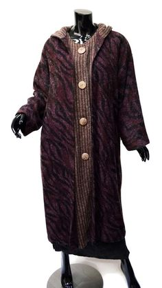 Art to Wear Layered Hooded Kimono Coat Sz XL 1X? Purple Black Brown Wool Blend  #Unbranded #BasicCoat #KimonoCoat #LayeredCoat #ArtWear Intriguing double-coat from Asia with kimono-esque styling...and a hood!