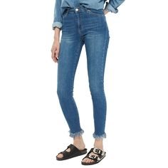 - Topshop Moto Destroyed Hem Leigh Jeans, $70