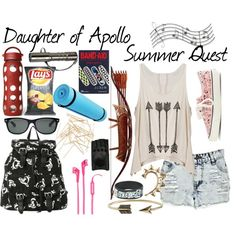 Daughter of Apollo: Summer Quest by multi-fandom-fangirl on Polyvore featuring Boohoo, Vans, Zad, Rachel Entwistle, Monki, Ray-Ban, AGNELLE, Music Notes, Lifefactory and J.Crew