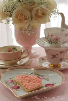 Aiken House & Gardens. I love the sweet tea cups & saucers with delicate pink rosebuds. I also love the heart shaped dessert plate...