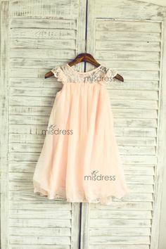 Blush Pink Lace Chiffon Flower Girl Dress Cap Sleeves di misdress, $46.99