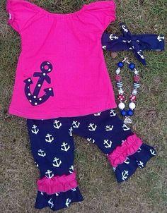 Pink Anchor Capri Pant Set